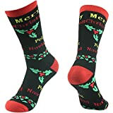 Cute Cartoon Socks, Gmark Mens Womens Fashion Warm Thick Thermal Cushion Crew Quarter Winter Socks Feliz Navidad In English,Black