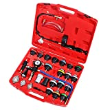 JIFETOR Radiator Pressure Leakage Tester and Vacuum Cooling System Purge Coolant Refill Tool Kit, 28PCS Universal Automotive Water Tank Leak Test Detector and Pneumatic Vacuum Coolant Change Set