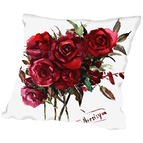 American Flat - Rose burgundy throw pillow