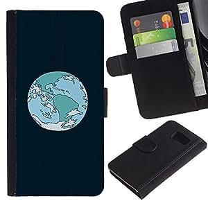 YiPhone /// Tirón de la caja Cartera de cuero con ranuras para tarjetas - Órbita de la Tierra de la historieta - Samsung Galaxy S6