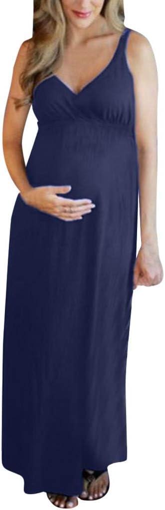 Damska jednokolorowa sukienka bez rękawÓw dekolt w kształcie litery V długa sukienka ciążowa YunYoud miękka wygoda luźna sukienka damska letnia sexy sukienka do noszenia w czasie wolnym
