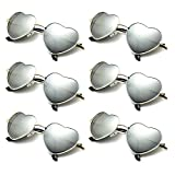 6 Packs Vintage Mirrored Aviator Heart Sunglasses Metal Frame (Silver Mirror)