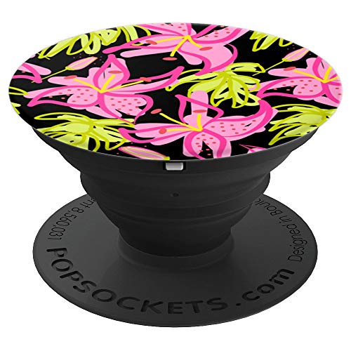 Pink Tiger Lily Flowers Tropical Garden Floral Pattern Black - PopSockets Grip and Stand for Phones and Tablets