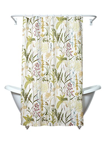 Zenna Home, India Ink Huntington Fabric Shower Curtain, Floral Ivory Floral Curtain Fabric