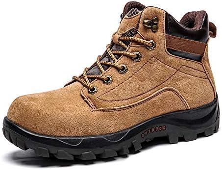 PAMRAY Zapatos Deportivos Senderismo Trekking Botas de Tobillo Hombres Plataforma Ante Combate Botines de Invierno Nieve Calentar Lana VS Normal Marrón ...