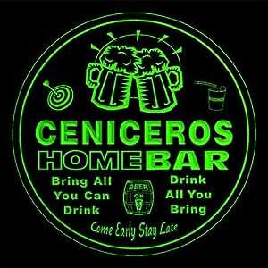 4x ccq07547-g ceniceros apellido casa Bar Pub cerveza club regalo 3d posavasos
