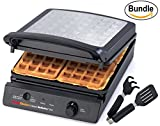 Chef'sChoice 854 International Classic WafflePro 4-Square Waffle Maker Model 854 & Zonoz ez-Mini Grab and Lift Silicone Tongs (Bundle)