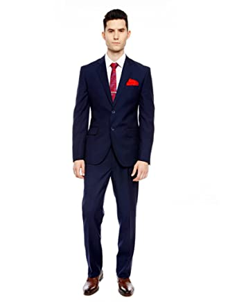 men navy blue slim fit single breasted formal suit