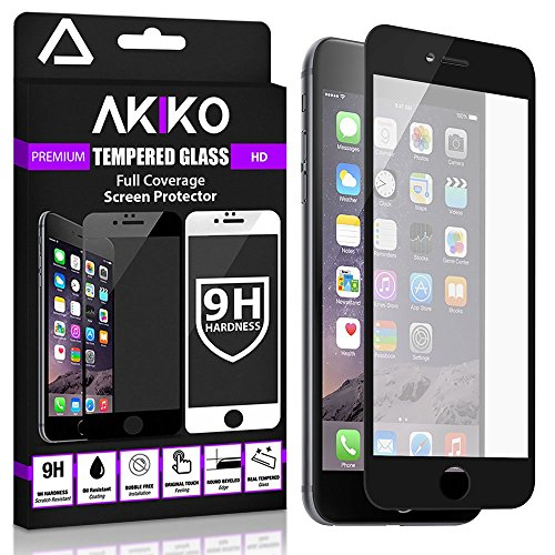 Akiko iPhone 6 6s Black Screen Protector, Akiko New 2.5D Full Screen Tempered Glass Protector [Full Protection Cover w/Curved Edge] - Retail Packaging
