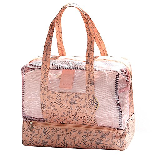 Beach Swimming Dry/Wet Seperated Bag Mesh Waterproof Unisex Shoes/Bathrobe Handle Mummy Shower Washing(pink)