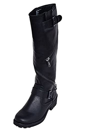 Amazon.com | Ladies Black Moto Boots Women Motorcycle Size 6.5 | Boots
