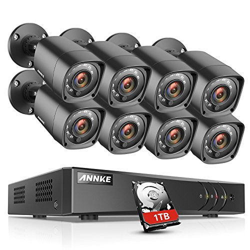 ANNKE CCTV Camera Systems 8 Channel 1080P Lite H.264+ DVR and 8×720P Weatherproof HD-TVI Bullet Cameras, 1TB Surveillance Hard Drive, Email Alert with Snapshots