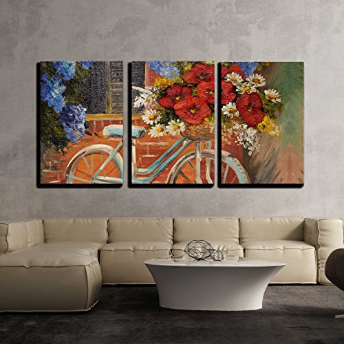 Oil Painting Flowers near a Wall Bike with a Bouquet of Flowers x3 Panels
