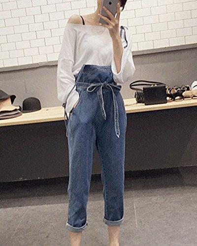tudiant Yonglan Fit Combinaison Femmes Denim Slim Jeans Ceintures Simple En tudiant Denim Bleu Jeans ZZTF0