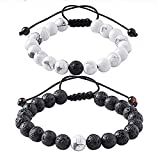Distance Couple Bracelets Relationship Bracelet for Love Infinity Labradorite and Black Agate Gemstone His and Hers Bracelets (2pcs) (Red & Black)