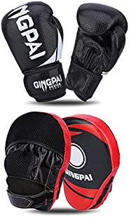 GINGPAI 2-in-1 Boxing Gloves and Punching Mitts Sets for Men Women, Boxing Mitts Focus Pads, Boxing Gloves for