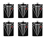 Gifts Infinity Set of 6 Groom, Bestman, Groomsman, Bachelor Party Stainless Steel Hip Black Tuxedo Flask 8o