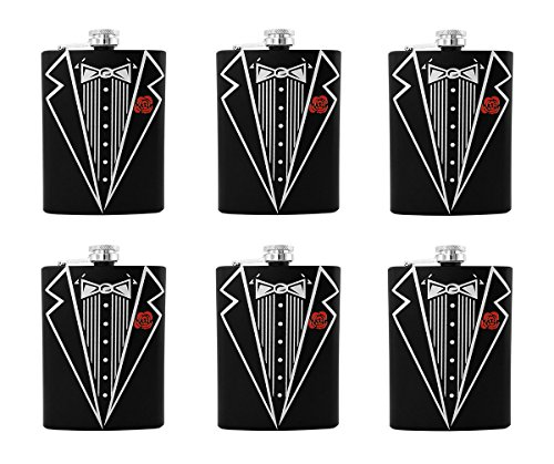 Gifts Infinity Set of 6 Groom, Bestman, Groomsman, Bachelor Party Stainless Steel Hip Black Tuxedo Flask 8oz