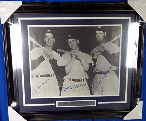 Mickey Mantle, Joe DiMaggio & Ted Williams Signed Auto Framed 16x20 Photo - JSA Certified