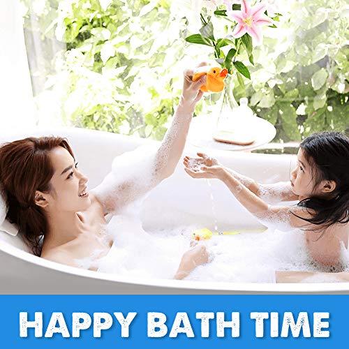 Wimaha Non Slip Bathtub Mats Long (34.5 x 15.5) Shower Bath Mat for Bathroom Tub Stall, Machine Washable, Ideal for Kids Elderly Baby, Clear Blue