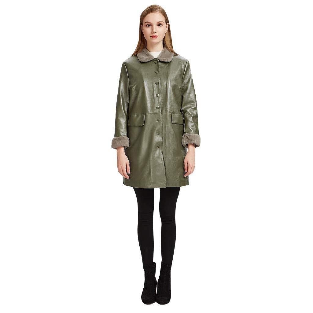 Fitfulvan Womens Leather Jacket Windbreaker Thicken Casual Leather Coat Outwear Green by Fitfulvan Womens tops