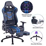 VON RACER Massage Gaming Chair Racing Office Chair - Adjustable Massage Lumbar Cushion, Retractable Footrest and Arms High Back Ergonomic Leather Computer Desk Chair (Blue/Black)