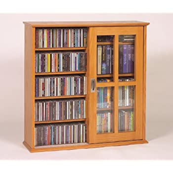 Leslie Dame Mission Wall Hanging Double Width Sliding Door CD,DVD Multimedia  Cabinet In