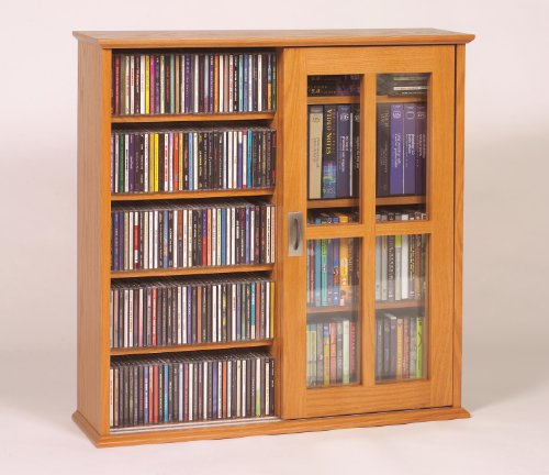 Leslie Dame Mission Wall Hanging Double-Width Sliding Door CD,DVD Multimedia Cabinet in Oak