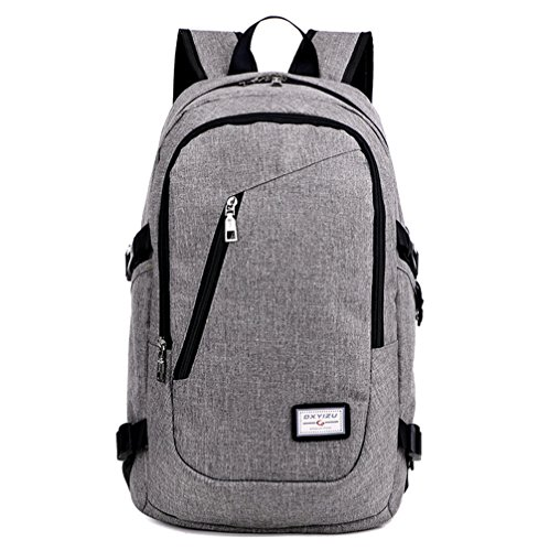 NAGU Business Water Resistant Polyester Laptop Backpack with USB Charging Port and Lock Fits Under 17-Inch Laptop and Notebook (Grey)