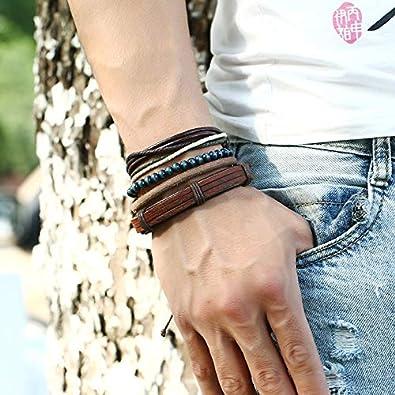 Bracelets Vintage Bracelets en Cuir Tress/és Multicouches Faits /à la Main Hommes Taille vi.yo