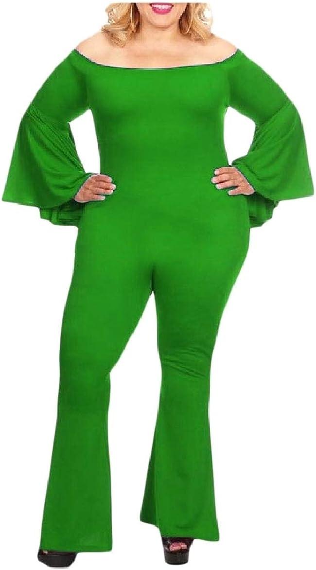 Howme Womens Flare Plus-Size Pure Colour Off-Shoulder Party Jumpsuit
