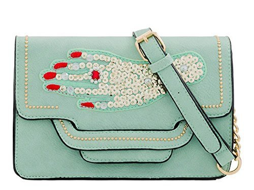 Leather Sequin Women's Mint Bag Handbag Clutch Jewel Faux Decoration Unique 5qqEOn