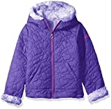 Pacific Trail Little Girls' Quilted Jacket Reversible to Tie-Dye Faux Fur, Purple, 6X