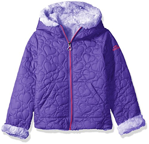 Little Girls Jacket - Pacific Trail Little Girls' Quilted Jacket Reversible to Tie-Dye Faux Fur, Purple, 5/6