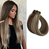 Human Hair Extensions Clip in Brown to Blonde Highlights 70grams 15' Short Straight Clip in Balayage Extensions for Women 7 Pieces, 2/613