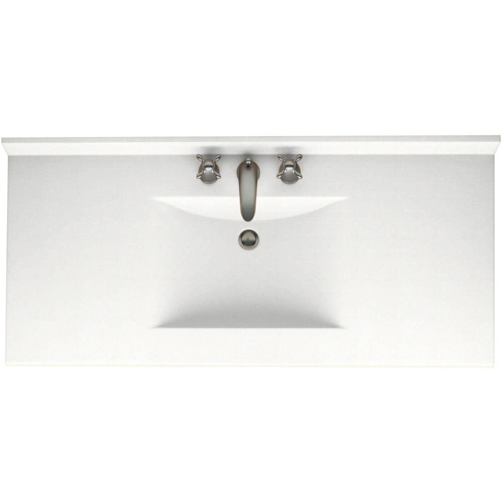 37-in L X 22-in H X 6.25-in H Swanstone CV02237.072 Contour Solid Surface Single-Bowl Vanity Top Pebble