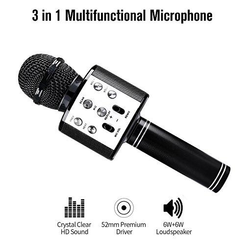 Wireless Bluetooth Karaoke Microphone, Portable Handheld Mic Built-in Speaker With Multi-function Professional Classic-style Karaoke Player for iPhone/Android/Smartphone, Home Party KTV, etc. (Black) by Keybright