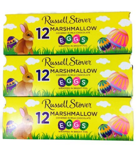 Russell Stover Marshmallow Egg Crate, 9 oz crate, 12 Easter Eggs, (Pack of 3 Crates)