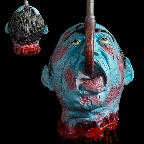 Latex Zombie (Hootech Halloween Decorations Severed Head Cut off Corpse Head Prop Hanging Bloody Gory Latex Zombie Party Supplies)