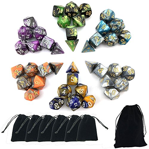 SmartDealsPro 6 x 7 Sets(42 Pieces) Two Colors Polyhedral Dice with Free Pouches for Dungeons and Dragons DND RPG MTG Table Games D4 D8 D10 D12 D20 (Sets D20 Dice)
