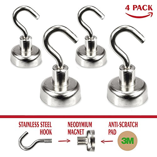 SplendidPack Heavy Duty Magnetic Hooks (4 pack) Powerful Storage Organizer for Any Magnetic Surface in Kitchen & Garage - Strong & Small Neodymium Hanging Hook for Refrigerator Wall Peg & White Board