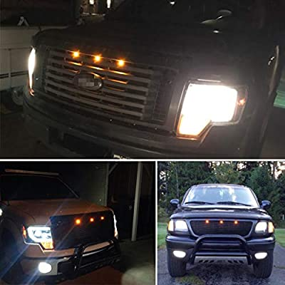 KE-KE Amber LED Grille Lights Kit w/Mounting Bracket Raptor Style For 2009-up Ford F150: Automotive