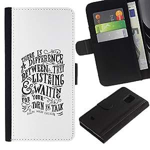 Be-Star la tarjeta de Crédito Slots PU Funda de cuero Monedero caso cubierta de piel Para Samsung Galaxy S5 Mini (Not S5), SM-G800 ( Listening Talking Motivational Inspiring )