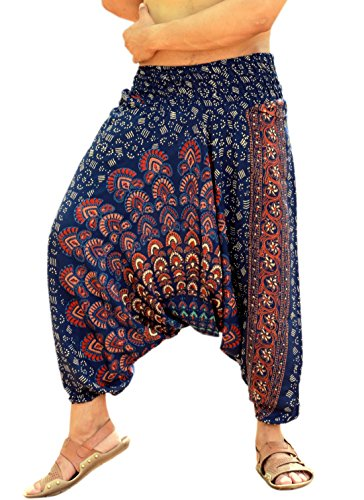 Sarjana Handicrafts Mens Womens Rayon Mandala Pockets Harem Pants Yoga Drop Crotch Trouser