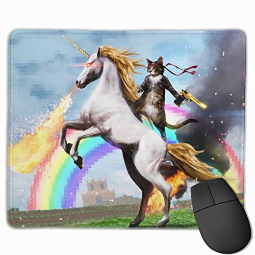 0fe93e7a10abe Mouse Pad with Design Funny Ninja Cat On A Unicorn for Computer Office  Gaming,11.8x9.8x0.09 Inch