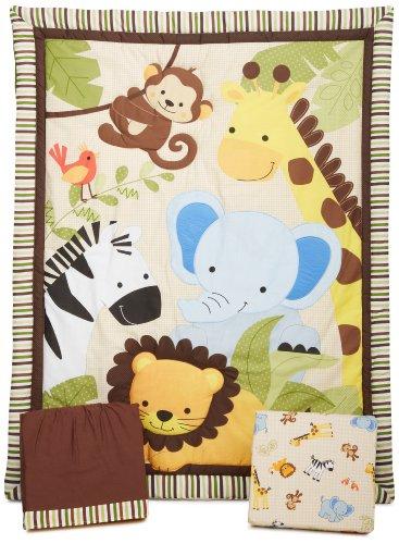 Bedtime Originals Jungle Buddies 3 Piece Crib Bedding Set, Brown/Yellow