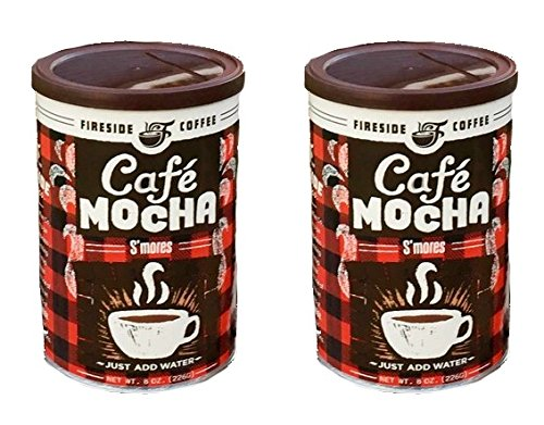 Mocha Rum - Fireside Coffee Cafe Mocha Instant Flavored Coffee 8 Ounce Canister - S'Mores (Pack of 2)