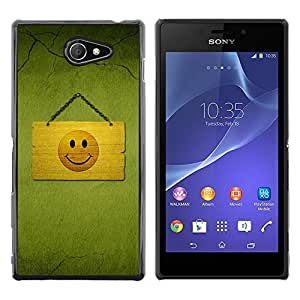 Paccase / SLIM PC / Aliminium Casa Carcasa Funda Case Cover para - Hapy Smiley Area - Sony Xperia M2