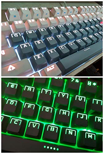 - 104 Keys Light Ring Halo Backlit Keycaps Doubleshot Key Cap OEM Profile for Cherry MX Gaming Mechanical Keyboard (104 Keys, Gray)