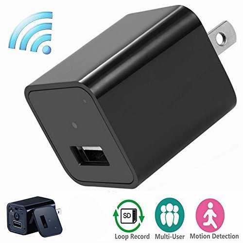 Wifi Spy Camera Charger Adapter,ESROVER HD 1080P P2P Wifi Hidden Spy Cam Nanny Spy Camera Adapter for IOS iPhone Android Phone APP Remote View